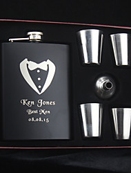 Personalized Stainless Steel Hip Flasks 8-oz Flask Set 6 pieces