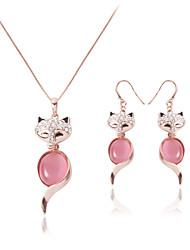 Bijoux 1 Collier / 1 Paire de Boucles d'Oreille Mariage / Soirée / Quotidien / Décontracté 1set Femme Or Rose Cadeaux de mariage