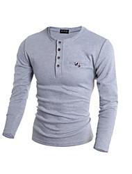Standard Pullover Da uomo-Casual Sportivo Tinta unita Manica lunga Cotone Poliestere Primavera Autunno Inverno
