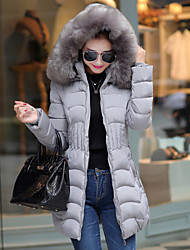 Women's Long Padded Coat,Simple Plus Size Solid-Polyester Polyester Long Sleeves Hooded