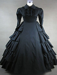One-Piece/Dress Gothic Lolita Steampunk® Cosplay Lolita Dress Black Vintage Long Sleeves Long Length Dress For Terylene Cotton
