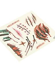 billiga -1 pcs Tatueringsklistermärken tillfälliga tatueringar Ogiftig / Halloween Body art Kropp / händer / arm