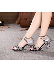 preiswerte -Damen Schuhe für den lateinamerikanischen Tanz Glitzer / Paillette / Kunststoff Sandalen Paillette / Schnalle / Band-Bindung Kubanischer