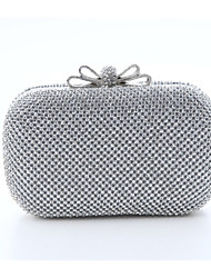 Women Bags All Seasons Polyester Satin Evening Bag Crystal/ Rhinestone for Wedding Event/Party Gold Black Silver