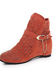 cheap -Women's Boots Spring Summer Fall Comfort Light Soles Fleece Office & Career Casual Athletic Flat Heel Rhinestone Chain Black Orange Brown