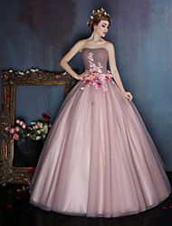 Ball Gown Sweetheart Floor Length Satin Tulle Formal Evening Dress with Beading Flower(s) by Huaxirenjiao