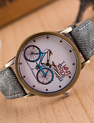 Unisex Watch Women's Men's Watch Jeans Band Wristwatches Students Brand New Watch I Want To Ride Bicycle Quartz Word Watch Bike Pattern Dial