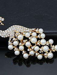 cheap -Women's Brooches - Pearl, Crystal, Cubic Zirconia Peacock Party, Work, Fashion Brooch Gold / White For Wedding / Party / Special Occasion
