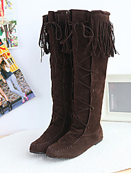 cheap -Women's Shoes Flat Heel Fashion Boots / Round Toe Boots Dress Black / Brown / Yellow / Pink