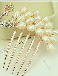 cheap -South Korea High-Grade Ornaments in Combs Hair Clasp Diamond Pearl Twist  The  Peacock