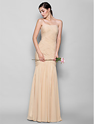 cheap -Fit & Flare Sweetheart Neckline Floor Length Chiffon Bridesmaid Dress with Criss Cross by LAN TING BRIDE® / Open Back