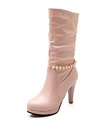 baratos -Feminino Sapatos Courino Outono Inverno Salto Robusto Botas Cano Médio Pérolas Sintéticas Fru-Fru Corrente Para Casual Social Branco