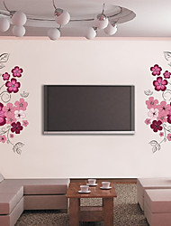 cheap -Beautiful Flowers TV Backdrop Plane Wall Stickers Wall Decor , PVC Removable