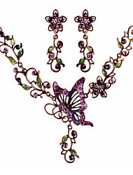 cheap -MPL Europe and the United States drops of oil Butterfly Necklace Earrings Set