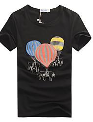 economico -T-shirt Uomo Casual Con stampe Cotone Manica corta-Nero / Blu / Bianco