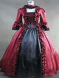 One-Piece Gothic Lolita Steampunk® Cosplay Lolita Dress Red Vintage Long Sleeve Dress For Women Satin/Lace Marie Antoinette Period Party Dress