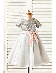 cheap -A-Line Knee Length Flower Girl Dress - Tulle Sequined Short Sleeves Jewel Neck with Bow(s) Sash / Ribbon Sequins by LAN TING BRIDE®