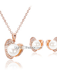 Lucky Doll Women's All Matching Rose Gold Plated Man Made Pearl Zirconia Necklace & Earrings Jewelry Sets
