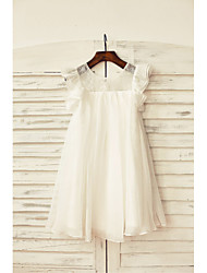 cheap -Sheath / Column Knee Length Flower Girl Dress - Chiffon Lace Short Sleeves Scoop Neck with Pleats by LAN TING BRIDE®
