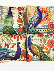 Set of 4 European Peacock Pattern Flax Sofa Cushion Pillow Cover