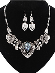 MPL Europe and the United States with exaggerated blue heart Glass Necklace Earrings Set