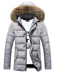 billige -Langærmet Ensfarvet Mænds Normal Anorak Frakke Øvrigt