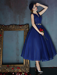 Ball Gown V-neck Tea Length Spandex Prom Family Gathering Dress with Sash / Ribbon by Huaxirenjiao
