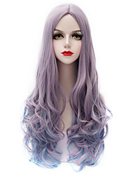 Vogue Gray Blue Wig Long Curl Wavy Hair Harajuku Purecas Lolita Fashion Party Women Girl Synthetic Wig