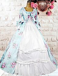 Недорогие -Лолита Платья Жен. Хлопок Японский Косплей костюмы Светло-синий Цветочный принт С принтом Длинный рукав Средняя длина