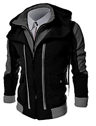 Men's Plus Size Sports Casual/Daily Simple Hoodie Jacket Color Block Cotton Polyester Long Sleeve Spring Fall Winter