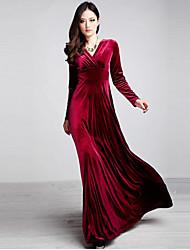 Women's Solid Color Blue / Red / Black / Green / Purple Dresses , Vintage / Party V-Neck Long Sleeve