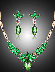 cheap -Women's Pearl / Cubic Zirconia Cute Jewelry Set Earrings / Necklace - Vintage / Party / Fashion Emerald Jewelry Set For Party / Special