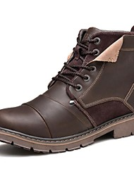 cheap -Men's Shoes Nappa Leather Fall Winter Combat Boots Bootie Motorcycle Boots Fashion Boots Cowboy / Western Boots Comfort Boots Lace-up for