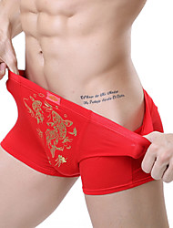cheap -Men's Cotton / Polyester Plus Size Chinese New Year Luky Red Golden Fish Print Boxer Briefs