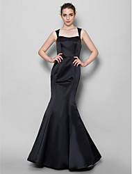 cheap -Mermaid / Trumpet Square Neck Floor Length Lace Satin Bridesmaid Dress with Lace by LAN TING BRIDE®