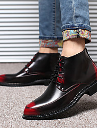 baratos -Homens sapatos Couro Inverno Outono Cadarço para Casual Ao ar livre Festas & Noite Preto Amarelo Vermelho