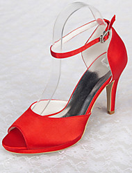 cheap -Women's Shoes Satin Spring / Summer / Fall Stiletto Heel / Platform Buckle Red / Wedding / Party & Evening / Party & Evening