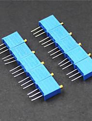 abordables -3296 potenciómetro de 3 pines 10kOhm resistencias ajustables - azul (10 piezas)
