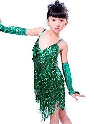 cheap -Latin Dance Outfits Children's Performance Sequined Paillettes Tassel(s) 3 Pieces Sleeveless Dress Sleeves