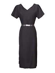 billige -Dame Chic & Moderne Kjole - Helfarve, Moderne Stil