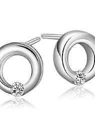 cheap -2016 Korean Women 925 Silver Sterling Silver Jewelry AAA Zircon Circle Earrings Drop Earrings 1PairImitation Diamond Birthstone