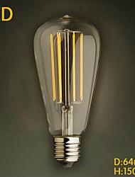 billige -1pc 4 W 350 lm E26 / E27 LED-glødetrådspærer ST64 4 LED Perler COB Dekorativ Varm hvid 220-240 V