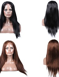 cheap -Human Hair Full Lace / Lace Front Wig Straight Wig 130% Natural Hairline / African American Wig / 100% Hand Tied Women's Short / Medium Length / Long Human Hair Lace Wig