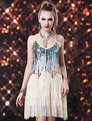 abordables -Danse latine Robes Femme Utilisation Spandex Pailleté Paillette Gland Sans Manches Robe