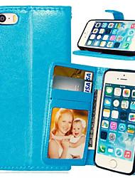 Недорогие -Кейс для Назначение iPhone 5 Apple Кейс для iPhone 5 Бумажник для карт Кошелек со стендом Флип Чехол Сплошной цвет Твердый Кожа PU для
