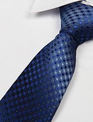 Blue Rhombic Pattern Polyester Yarn Arrow Type Tie Necktie