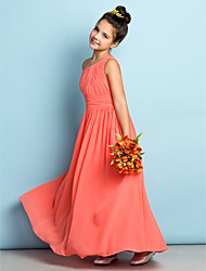 cheap -A-Line One Shoulder Ankle Length Chiffon Junior Bridesmaid Dress with Side Draping by LAN TING BRIDE® / Natural / Mini Me