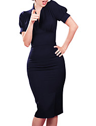 Women's Fashion Casual / Work V Neck Knee-length Sheath Dress