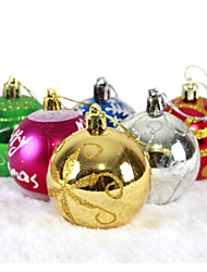 "cheap -6PCS/SET 6CM/2.4"" Mixed Colors and Styles Christmas Tree Decorations Hanging Shining Bubles Ball Party Xmas Ornaments"