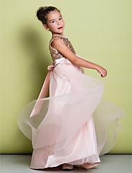 Недорогие -A-line sweep / brush train flower girl dress - тюль с блестками без рукавов совок с цветком от lan ting bride®